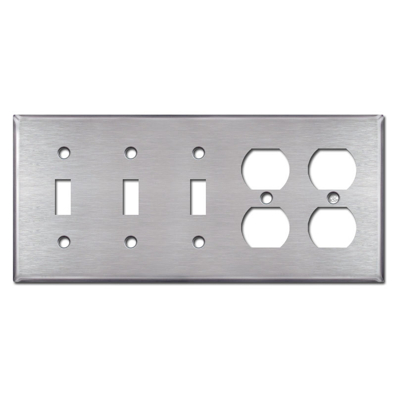 3 Toggle 2 Outlet Light Switch Covers Plates Stainless Steel