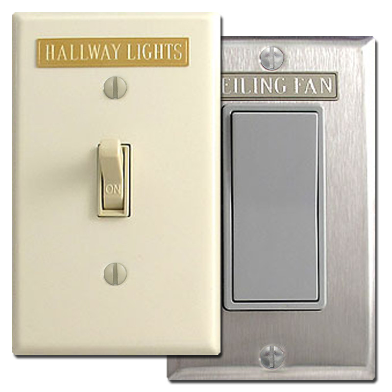 Long Engraved Light Switch Cover Name Plates - Adhesive Back
