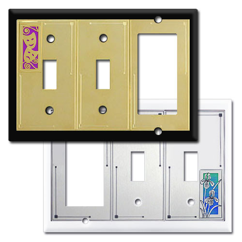 Decorator 2 Toggle 1 Rocker Switch Plates in Colorful Designs