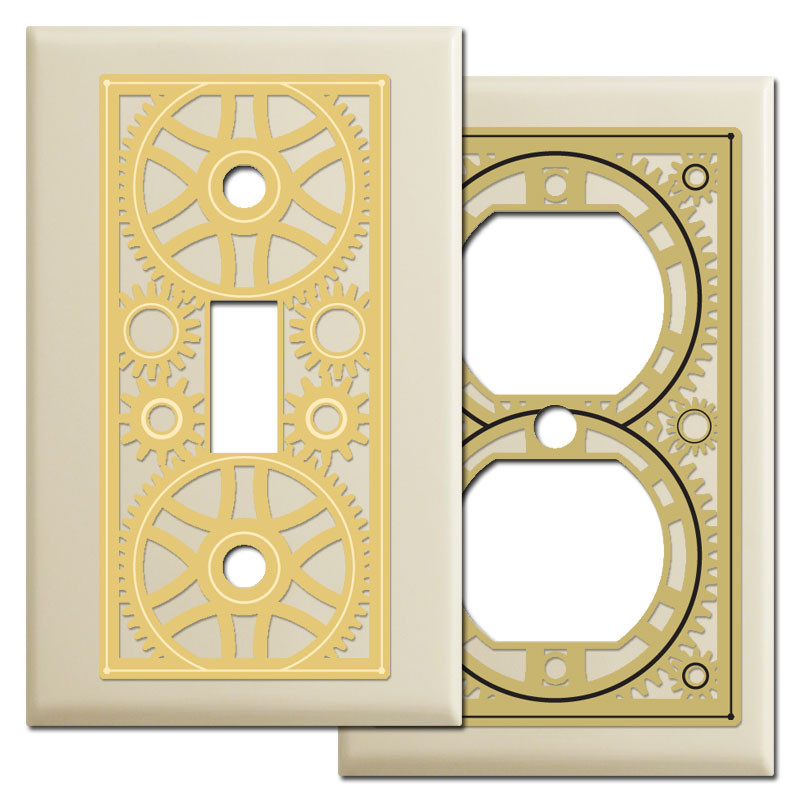 Machine Age Light Switch Cover Plates in Ivory - Kyle Design