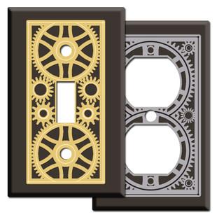 Brown Steampunk Victorian Gothic Light Switch Plates