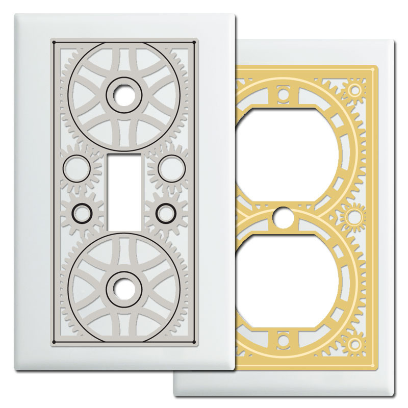 Steampunk Industrial Decor Switch Plate Covers in White - Kyle Design