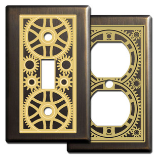 Bronze Steampunk Industrial Age Light Switchplates
