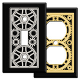 Mechanical Age Steampunk Gears Switch Plates in Black