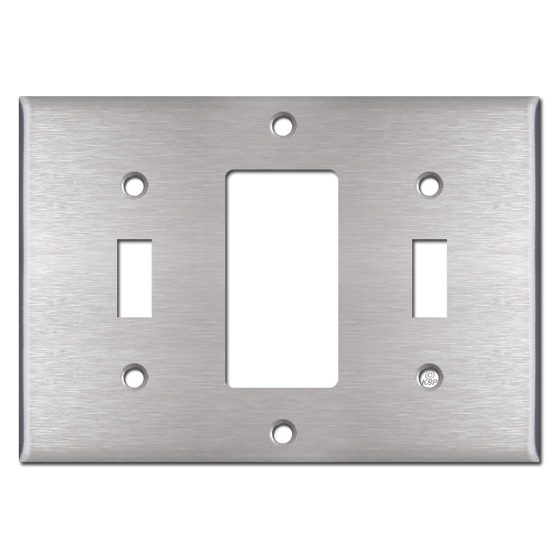 Triple Switch Plate Cover Beauteous Toggle Decora Toggle Triple Wall Switch Plate Cover  Stainless Steel Decorating Inspiration
