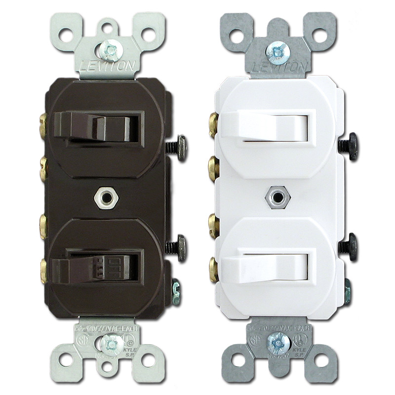 Leviton Duplex Stacked 3Way Horizontal Toggle Light Switches 5243