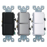 Leviton 2 Stacked Decora Rocker Switches
