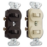 Pass & Seymour Duplex Horizontal Dual Toggle Switches