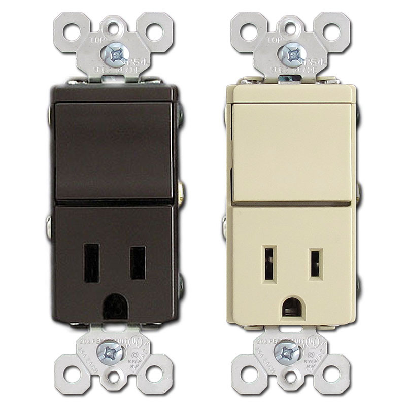 Pass Seymour Combination 3Way Switch 15A Outlet Receptacle TM838 - Three Way Switch Receptacle