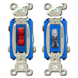 3-Way Pilot Switch with Lighted Toggle When On - 2 Colors 15A