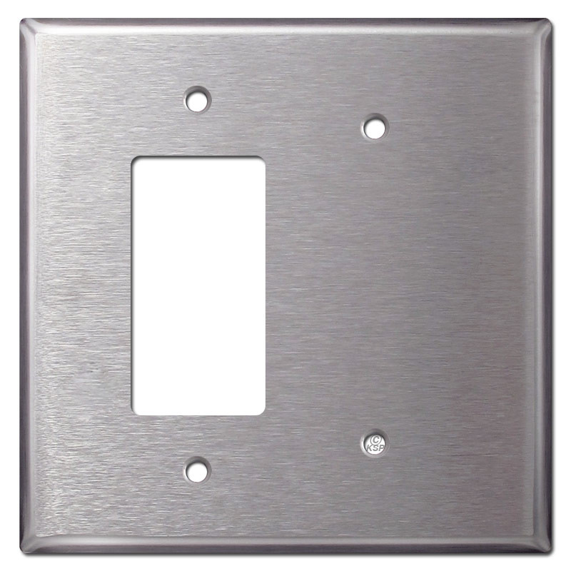 Oversized Blank GFCI Rocker Light Switch Cover - Stainless Steel