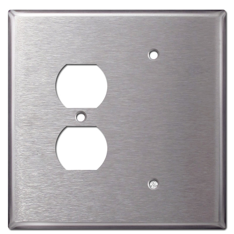 Blank Duplex Receptacle Cover - Stainless Steel