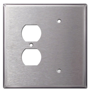 Oversized Blank Duplex Receptacle Cover Stainless Steel