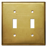 2 Toggle Wall Switch Plate - Raw Satin Brass