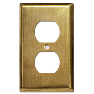 1 Duplex Outlet Cover Wall Plate - Unfinished Raw Brass