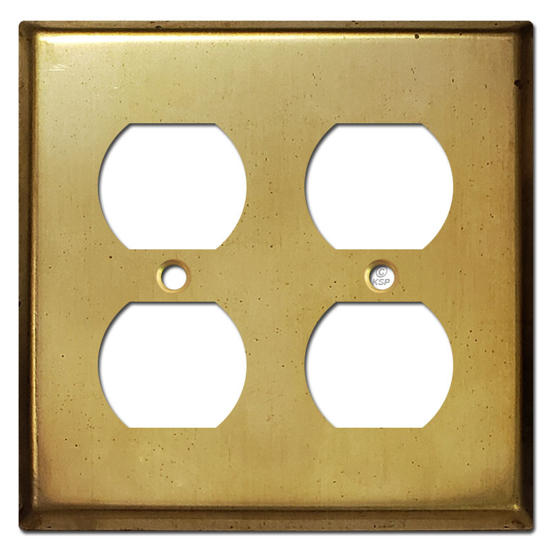 Double Duplex Receptacle Cover Plates Raw Satin Brass