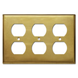 3 Outlet Receptacle Cover Plate - Raw Satin Brass