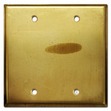 Double Blank Wall Switch Plate Cover - Raw Satin Brass