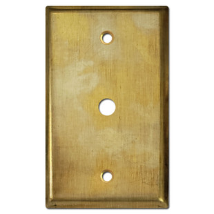 """Coax TV Cable Cover Plate for .375"""" Jack - Raw Satin Brass"""