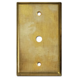 "Coax TV Cable Cover Plate for .375"" Jack - Raw Satin Brass"