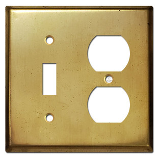 Toggle Receptacle Cover Switchplates - Raw Satin Brass