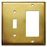 Toggle & Decor Rocker GFCI Receptacle Cover - Raw Satin Brass