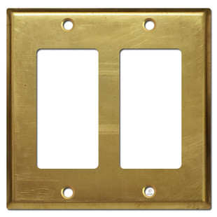 2 Rocker GFI Decora Outlet Cover Plate - Raw Satin Brass