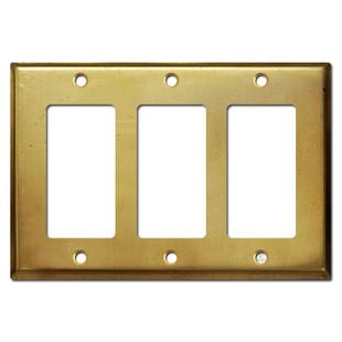 3 Rocker Decora GFI Outlet Switch Cover - Raw Satin Brass