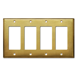 4 Rocker Decora Outlet GFCI Switch Wall Plate - Raw Satin Brass