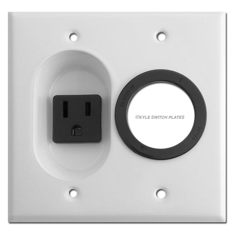 15A Outlet & Cable Feed Through Wall Plate - White