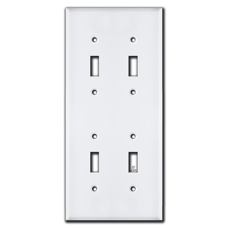 Tall Stacked Double Gang 4 Toggle Light Switch Cover - White