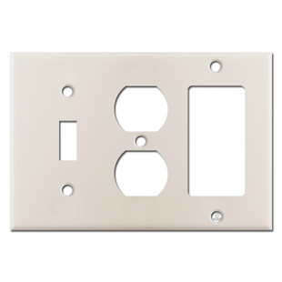 Rocker Duplex Toggle Switchplates - Light Almond