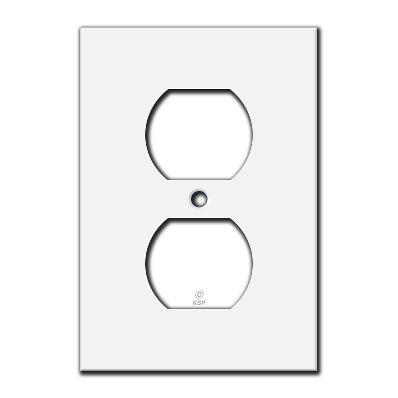 Flat Short 4 Duplex Receptacle Cover Plate White