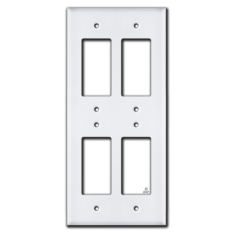 4 Switch Plate Alluring Stacked 4 Rocker Gfci Electrical Cover  White Inspiration Design