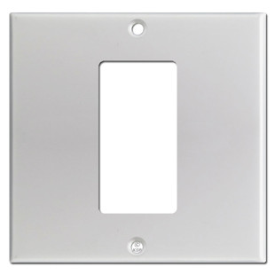 2-Gang 1-Decora Centered Receptacle Wallplate - Brushed Aluminum