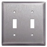 Deep 2 Toggle Light Switch Plates - Stainless Steel