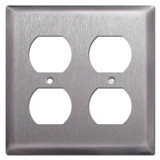 Deep 2 Duplex Outlet Receptacle Covers - Stainless Stee