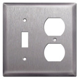 Deep 1 Receptacle 1 Toggle Switch Plate Covers - Stainless Steel