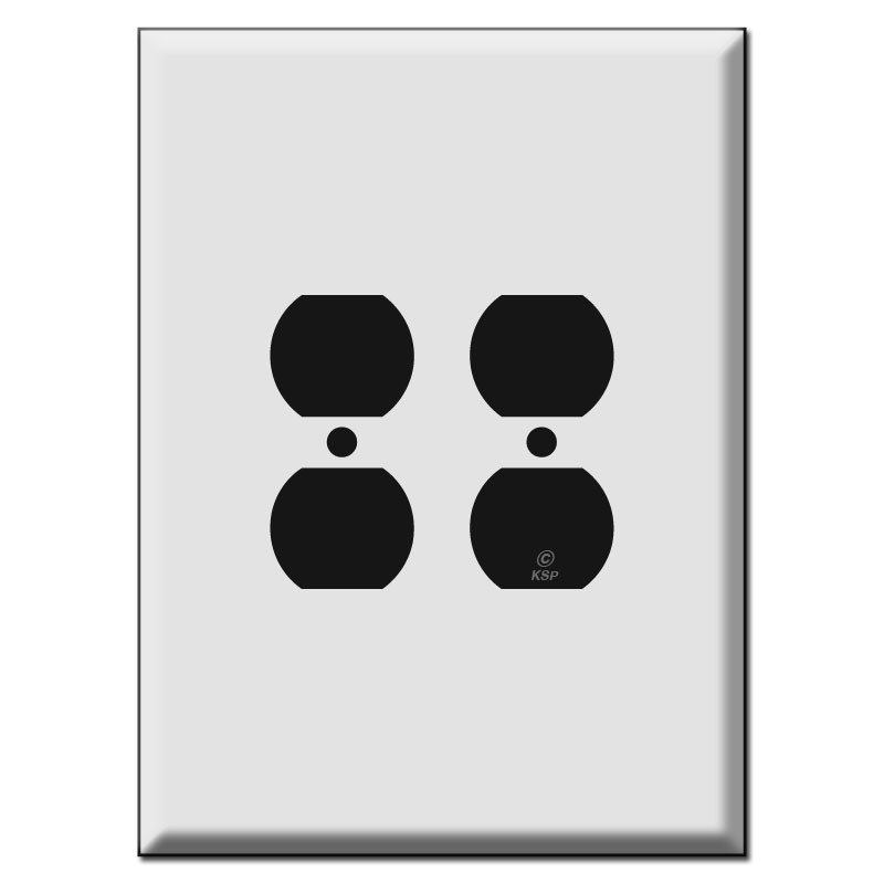 """Metal Electrical Outlet Covers Oversized Outlet Covers: Largest Size 7.5"""" Oversized 2 Duplex Outlet Electrical Plates"""