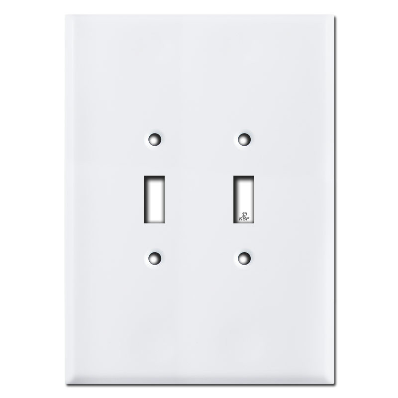 "Double Light Switch Cover Delectable Jumbo 7.5"" Double Toggle Light Switch Covers  White Design Decoration"