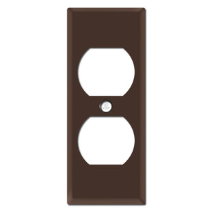"""Trimmed 1.75"""" Duplex Outlet Covers - Brown"""