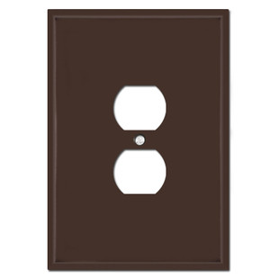 """Very Large 6.38"""" Jumbo Duplex Outlet Cover - Brown"""