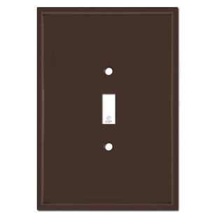 """Extra Big 6.38"""" Oversized 1 Toggle Switch Wall Plate - Brown"""