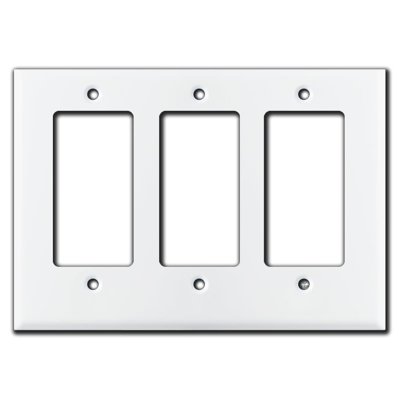 Short 3 Rocker Decora Outlet Wall Plate White Kyle Switch Plates