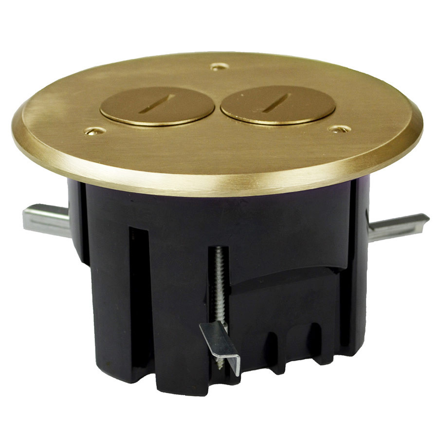Round Electrical Floor Box Brass Cover Duplex Outlet