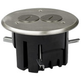 Recessed Floor Outlet Box - Round Duplex Nickel Cover