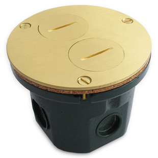 "Round 4"" Floor Box Assembly Duplex Outlet Brass Cover"
