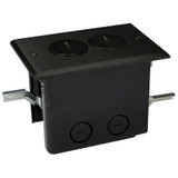 Electrical Floor Box - Duplex Outlet Dark Bronze Plated Brass Cover