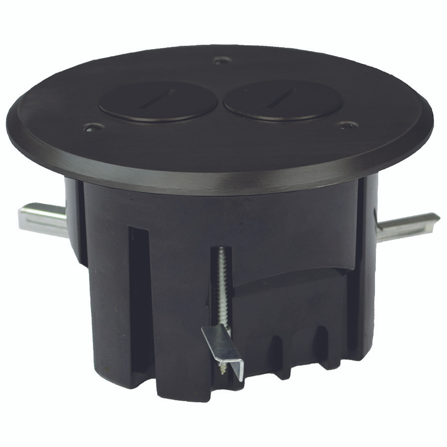 Round in floor electrical duplex outlet box dark bronze for Floor electrical outlet