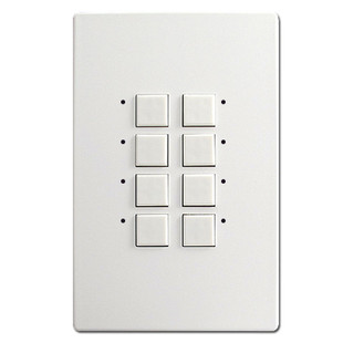 White Touch Plate 8 LED Switch Control Mystique - Green Lights